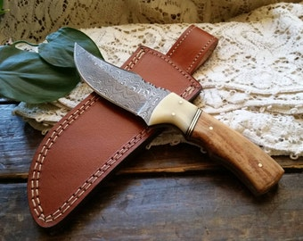 Damascus  Steel Knife, Hunter, Olivewood W/ Bone Bolster Handle, Leather Sheath, Full Tang, Hand Made, Forged, Custom Initials, Personalized