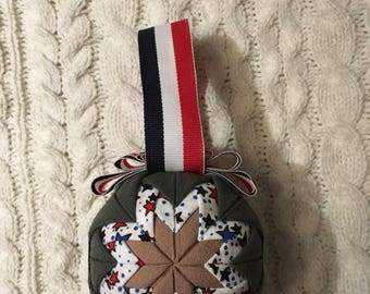 Flightsuit Quilted Christmas Ornament- Patriotic Stars