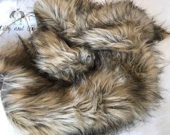Rabbit Faux Fur Fabric Prop/Soft Brown Faux Fur/Newborn Photo Prop/Faux Fur Prop/Basket Stuffer/Basket Filler Layer/RTS Free Shipping
