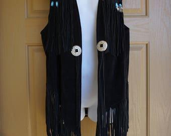 Vintage 1980s fringe black suede leather vest with feathers medium large 80s