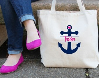 Nautical Anchor Bachelorette Tote Bag //  Anchor with Heart Personalized Tote Bag Custom Cruise Beach Bachelorette Canvas Bag //