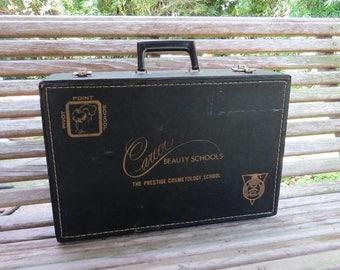 Vintage Beauty School Suitcase- Cosmetology School Supply Case- Career Beauty Schools-