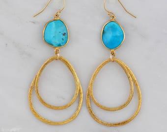 Gold Dangle Earring, Brushed Teardrop Earring, Turquoise Earring, Silver Gemstone Earring, Sisters Gift, Sterling Silver Dangling Earring