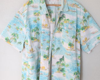 vintage lucky  blue hawaiian palm trees button up shirt