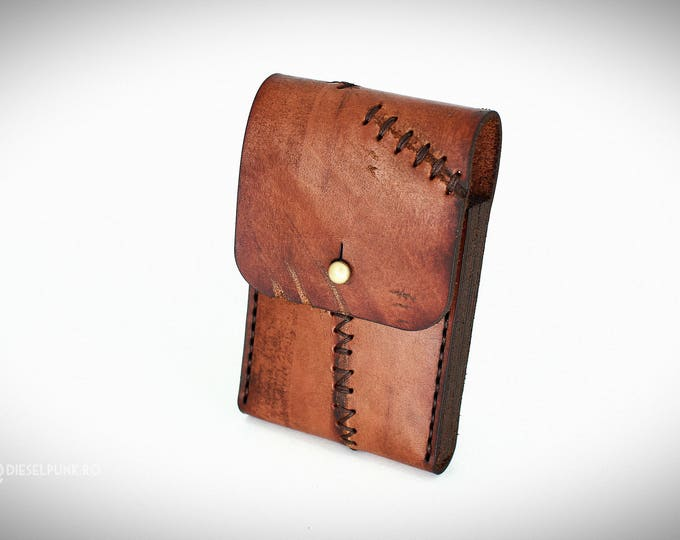 Cigarette leather case - Steampunk Pouch - Leather Pouch - slim cigarette case