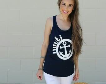 Nauti Anchor Nautical Beach Tank Top For Women,  Women's Tank Top, Racerback Tank, Funny Beach Shirts, Beach Shirts For Women, ©Liv & Co.™