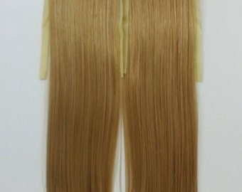 W201_K80 Blonde Long Straight clip on Ponytail hair extension Cosplay Custome Party Carnival Cheerleader X 2pcs