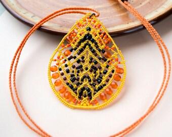 Papaya, macrame necklace, unique, OOAK, micro-macrame jewelry, beadwork, beadwoven, orange yellow black, fruit, bright, exotic, pendant