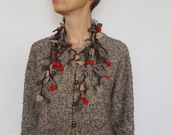 Cherry Neckless N0117 / Gift Idea / Wool Neckless
