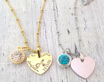 Heart Necklace, Personalized Heart Necklace, Anniversary Necklace, Daughter Jewelry, Wife Jewelry, Girlfriend Jewelry, Couples Gift