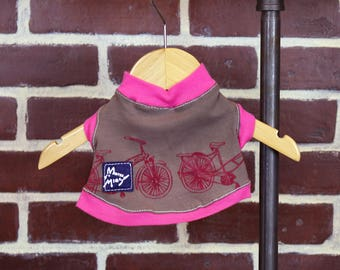 Pink Brown Flocked Bicycle Small Dog T-shirt Upcycled Sleeveless Trim Bike Girl or Boy Dog Ready to Ship