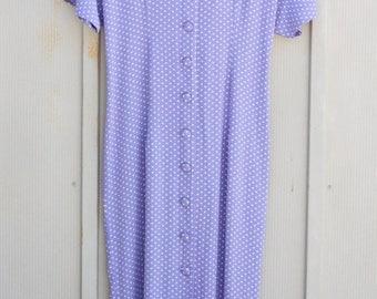Lavender Polka Dot Dress - 90s Grunge Dress - Button Down Dress - Pastel Goth Dress 1990s Soft Grunge Dress - Retro Mod Dress - Indie Dress
