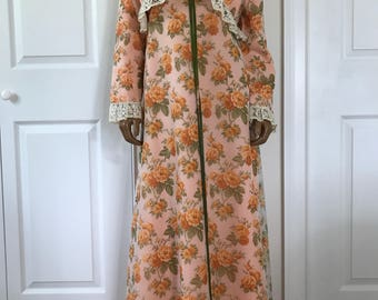 1960s Maxi Formal Gown Floral Rose Coral Print Old Hollywood Glam Size L