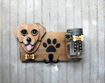 Custom Dog leash holder with treat jar.  Dogs  treat jar/Leash holder combination. Handmade Leash Holder of your dog