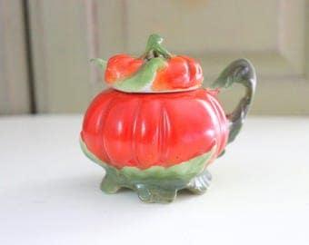 Vintage Royal Bayreuth Tomato Mustard Pot Jam Jar with Spoon Condiment Jar Serving Jelly Honey Jar Marmalade Jar Bavaria China