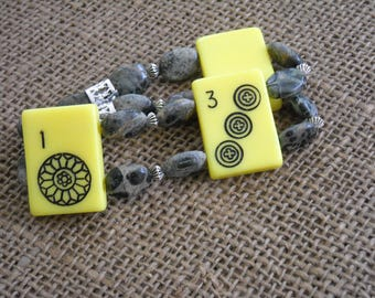 Mahjongg Jewelry - Yellow and Gray Mahjong Bracelet - Oriental Bracelet - Flexible Bracelet - Mahjong Gift