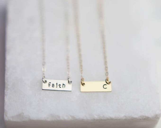 Mini Personalized name/initial bar necklace -Customized gold or silver name/initial plate necklace  EP005