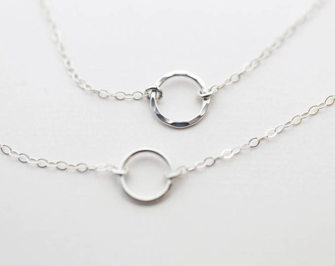 Halo Circle necklace,Round Halo Ring necklace, simple everyday necklace, 14K Gold Filled and Sterling Silver Friendship necklace