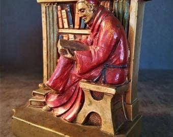 Vintage Monk/Cardinal Reading Book Bronze Bookend/Doorstop Circa 1920's Stamped IVA