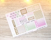 Mint & Gold Mini Happy Planner Weekly Kit; Vinyl Planner Stickers; Mambi; Decorative Stickers; Checklist Stickers; Personal Weekly Kit