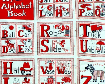 Vintage ABC Fabric Book to Cut and Sew DIY Soft Story Book Panels Look & Learn to Read My Red Alphabet Book Boy Girl Baby Gift FREE Shipping