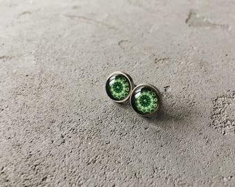 Green kaleidoscope studs by CuteBirdie