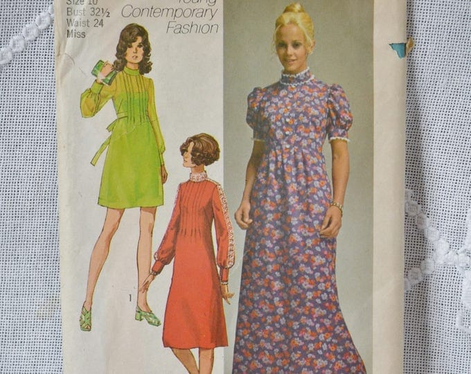 Simplicity 9080 Sewing Pattern Misses Dress in 3 Lengths Size 10 DIY Fashion Sewing Crafts PanchosPorch