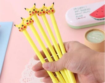 Pikachu Pokemon Gel Pen/Kawaii Pen/Yellow/Stationary/Supplies/Scrapbooking/Card Making/Party Favor/Journaling/Planner