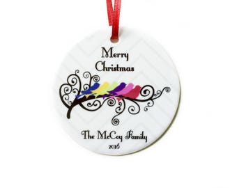 Personalized Family Christmas Ornament, Family Name Ornament, Family Tree Gift, Bird Ornament, Unique Christmas Ornaments, Gift for Mom