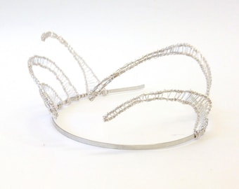 Bohemian Silver Tiara 'Seraphina', Silver Plated Wire Headpiece, Boho Meshed Metal Crown, Wedding Tiara,