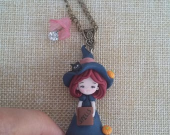 Witch necklace polymer clay. Halloween