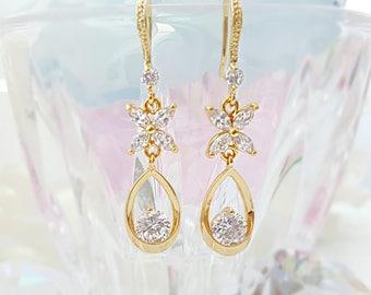 CZ Flower Earrings, Gold Teardrop Earrings, Long Dangle Earrings Gold, Cubic Zirconia Earrings, CZ Bridal Earrings, Crystal Butterfly, E2601