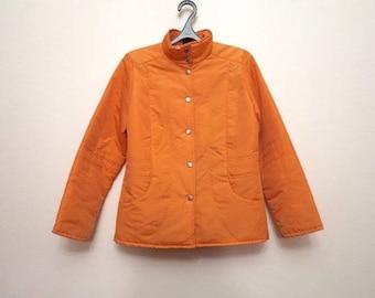 Orange Womens Parka Hipster Jacket Windbreaker Vintage Blazer Lightweight Parka Small to Medium Size