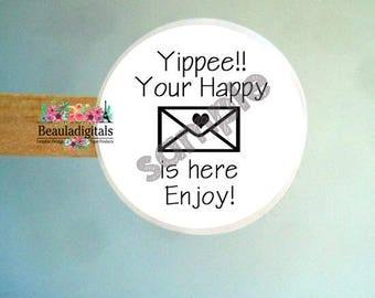 Happy Mail Sticker - Happy Mail Labels -  Round Happy Mail Stickers - Round mail Stickers - Mail Packaging Stickers - Happy Stickers