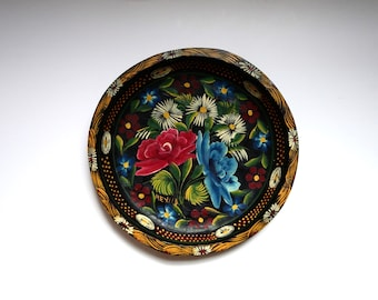 Large Vintage Hand Painted Mexican Batea or Tole Tray