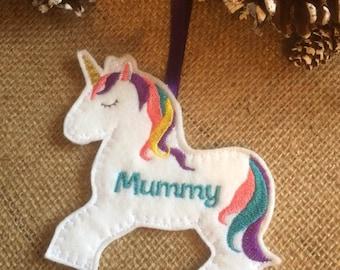unicorn decoration, personalised unicorn, unicorn tree decoration, unicorn decor, christmas unicorn ornament, unicorn gift, unicorn hanger