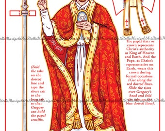 Saint Gregory the Great Paper Doll (Color and BnW)