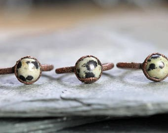 Electroformed Ring Copper Ring Dalmation Jasper Natural Stone Delicate Ring Black and White Stacking Ring