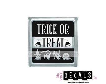 TRICK OR TREAT (with monsters) - Halloween Vinyl Lettering for Glass Blocks - Craft Decals