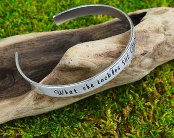 What She Tackles She Conquers Handstamped Bangle • Feminist Jewelry • Inspirational Jewelry • Mantra Cuff Bracelet