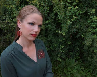 Rose | Romantic Statement Feminine Lace Earrings | Handmade Bobbin Lace Jewellery