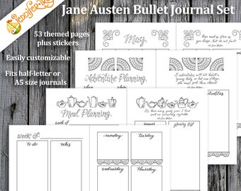 Jane Austen Bullet Journal Planner Set / Instant Download Printable PDF Inserts Hand Lettered Hand Drawn Template Quotes Stickers Coloring