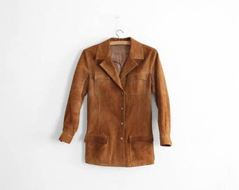 Vintage 1970s Suede leather Jacket - Tan Suede - Made in France - XS/S - 4/6 US