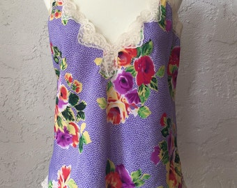 Vintage Silk Bright Floral and Lace Tank
