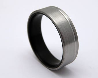 Black ebony wood ring, titanium and wood wedding band