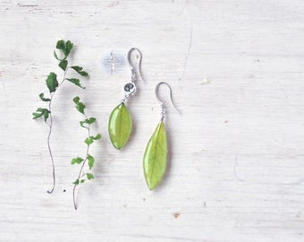 asymmetrical Dangle green earrings with real leaves of acacia - resin jewelry with pressed flowers - real plant earrings- spring verdure