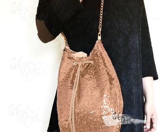 Rose Gold Sequin Drawstring Purse with Golden Shoulder Chain | Sparkle Bling Custom Bag for Bridal Shower Party Bridesmaid Girl Bday Gift