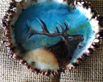 """Antler Belt Buckle XL 4"""" wide original oil painting of a Bull Elk on genuine Elk antler rosette (Burr)  a Bugling Elk profile"""