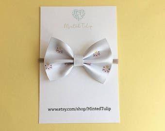 Princess Kitty Print Faux Leather and Glitter Bow on Headband or Hair Clip Baby Toddler Kids