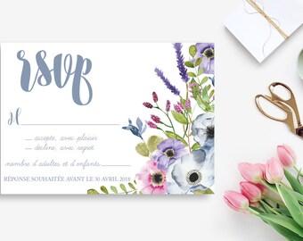 Floral Printable Wedding RSVP Card - Flowers Wedding RSVP Card - Wedding invitation - Watercolor invitation - Wedding DIY - Floral Rustic